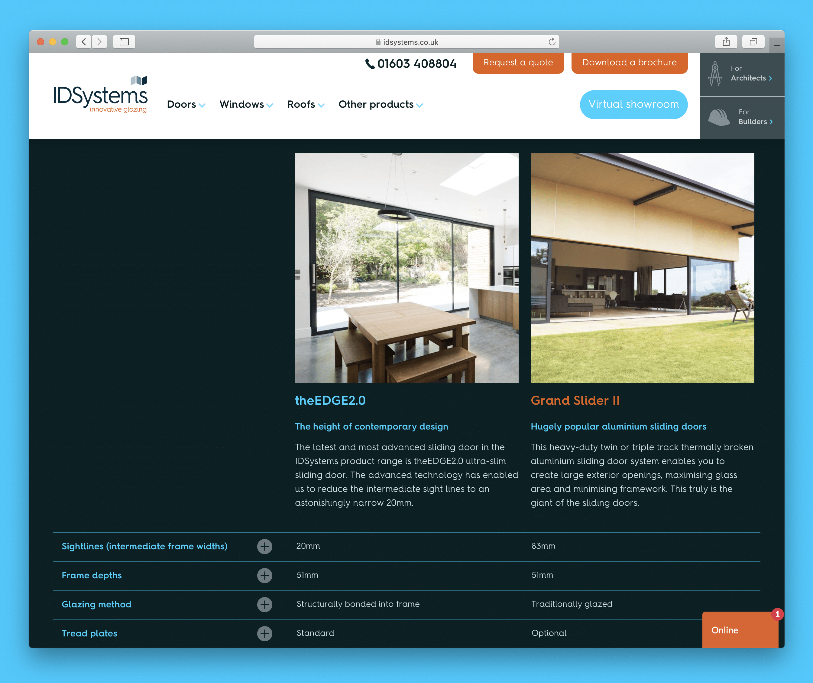 IDSystems website – comparison between theEDGE2.0 and Grand Slider II Sliding doors