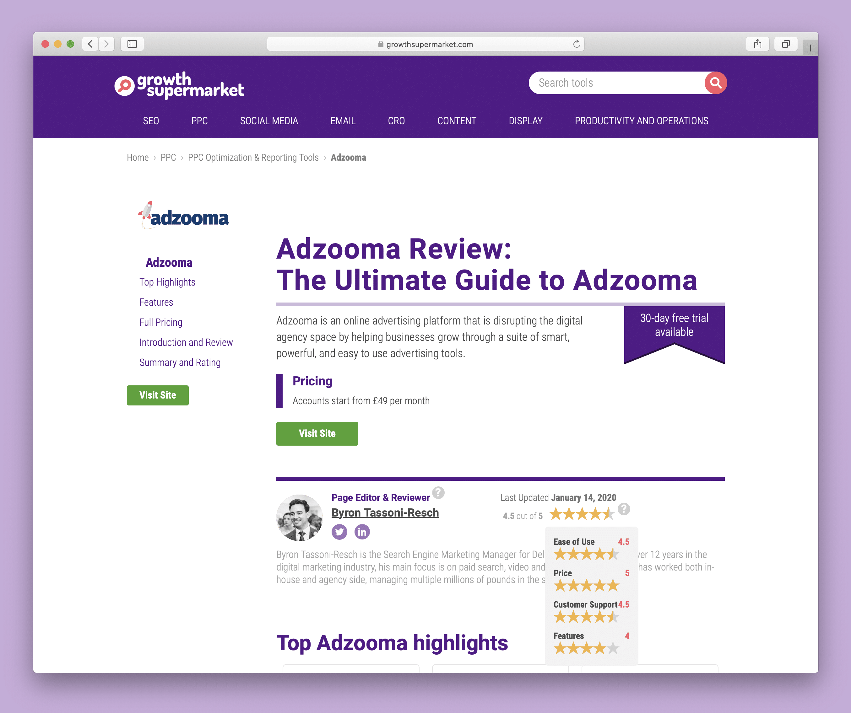 GrowthSupermarket Adzooma review design