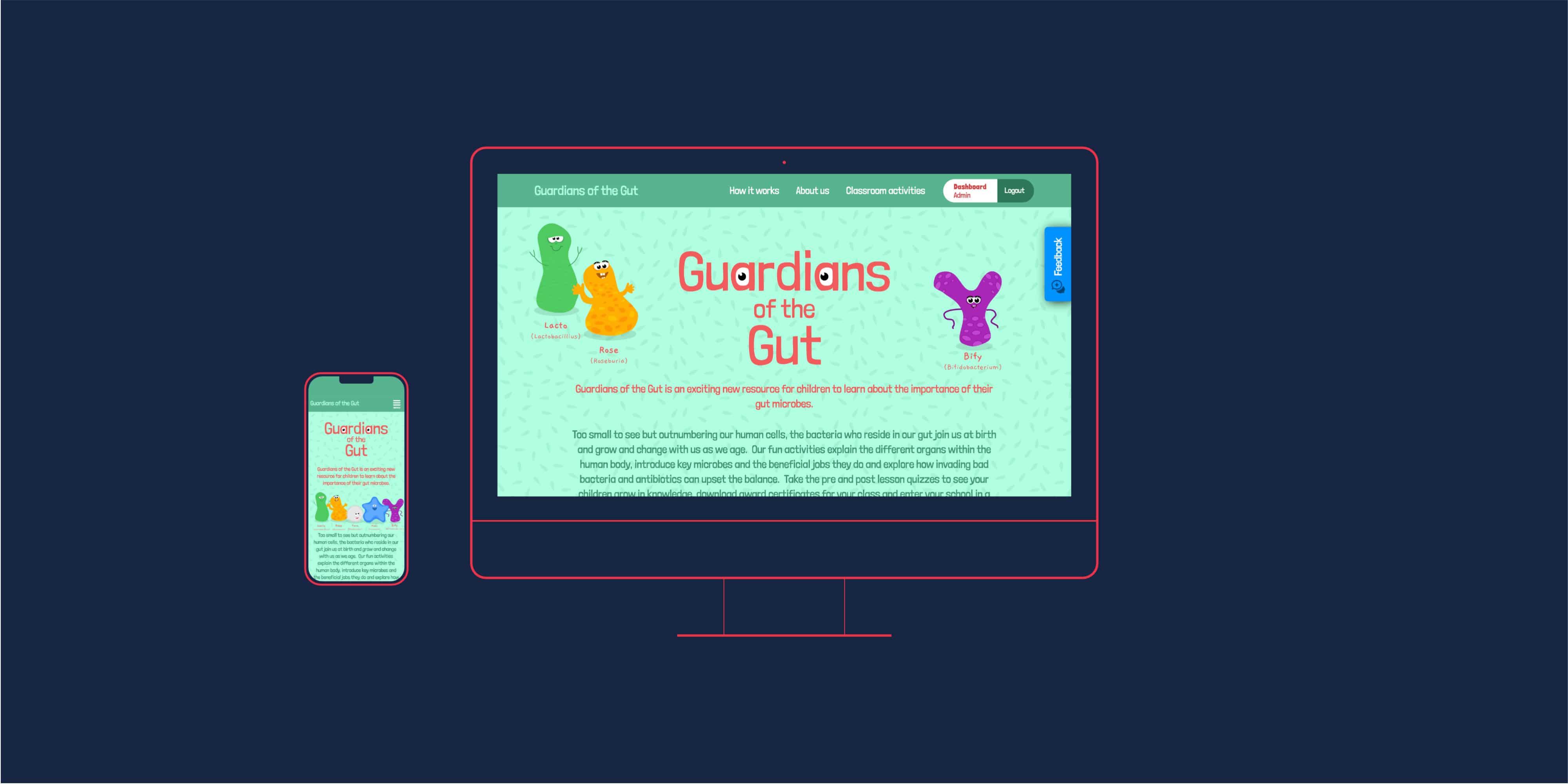 Guardians of the Gut website design